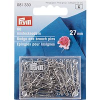 Prym Badge and Brooch Pins, 27mm, Silver