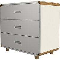 Stompa Curve 3 Drawer Chest, Silk White / Oak