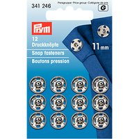 Prym Sew-on Snap Fasteners, 11mm, Silver