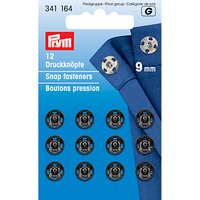 Prym Sew-on Snap Fasteners, 9mm, Pack of 12, Black