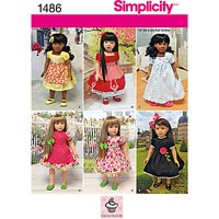 Simplicity Craft Doll Dresses Sewing Pattern, 1486