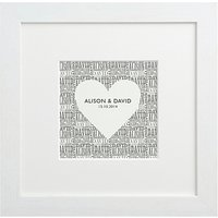 Letterfest Personalised Typographic Heart Framed Print, 25.5 x 25.5cm