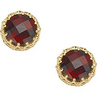 London Road 9ct Gold Crown Set Stud Earrings, Garnet