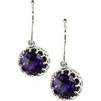 London Road 9ct Gold Chequer Cut Stone Drop Earrings