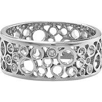 shop for London Road 9ct White Gold Diamond Bubble Ring, White Gold at Shopo