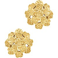 Image of London Road 9ct Yellow Gold Domed Posy Stud Earrings, Gold