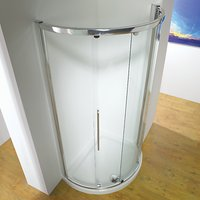 John Lewis and Partners 100 x 81cm Shower Enclosure with Curved Sliding Central Door