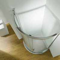 John Lewis and Partners 100cm Shower Enclosure with Curved Sliding Side Door