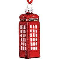 John Lewis & Partners Tourism Glass Telephone Box Decoration, Red