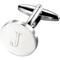 john lewis round initial single cufflink, silver