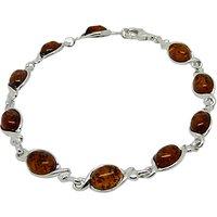 Goldmajor Amber Silver Oval Link Bracelet, Amber