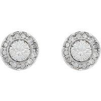 Cachet Rhodium Plated Swarovski Crystal Brilliant Pave Stud Earrings, Silver