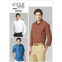 Vogue Men's Shirt Sewing Pattern, 8759