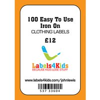 Labels4Kids Easy Iron On Clothing Labels, Pack of 100