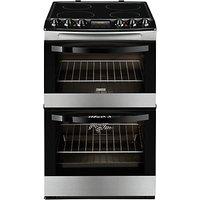 Zanussi ZCV48300XA Electric Cooker, Black/Stainless Steel