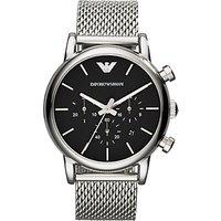 Emporio Armani AR1811 Men's Chronograph Stainless Steel Bracelet Strap Watch, Silver/Black