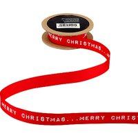 John Lewis Merry Christmas Ribbon, 3m, Red