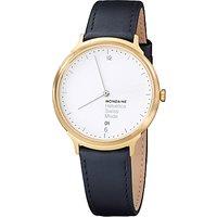 Mondaine MH1L2211LB Unisex Helvetica Leather Strap Watch, Black/White
