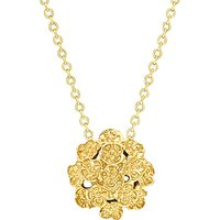 London Road 9ct Yellow Gold Posy Pendant Necklace, Gold