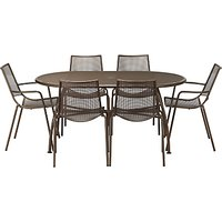 John Lewis Ala Mesh 6-Seater Table & Chairs Dining Set, Bronze