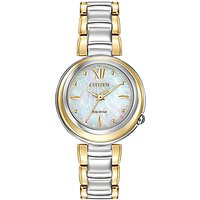 Citizen EM0337-56D Womens Sunrise Mother of Pearl Two Tone Eco-Drive Stainless Steel Bracelet Strap Watch, Gold/Silver