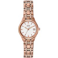 Citizen EW1263-52A Womens Silhouette Stainless Steel Bracelet Strap Watch, Rose Gold/White