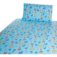 John Lewis Baby Noah's Ark Cot/Cotbed Cotton Duvet Cover Set, Blue