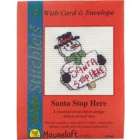 Cross-Stitch Santa Stop Here Card and Envelope