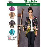 Simplicity Women's Kimono Jackets Sewing Patterns, 1318