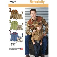 Simplicity Mens & Boys Western Tops Sewing Patterns, 1327