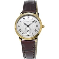 Frdrique Constant FC-235M1S5 Womens Slimline Leather Strap Watch, Brown/Gold