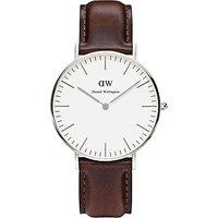 Daniel Wellington DW00100056 Women's Bristol Leather Strap Watch, Brown/White