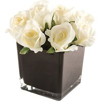 Peony Artificial Cream Roses in Black Cube, Large