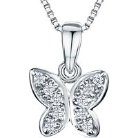 shop for Jools by Jenny Brown Rhodium Plated Silver Cubic Zirconia Butterfly Pendant Necklace, Silver at Shopo