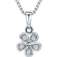 shop for Jools by Jenny Brown Rhodium Plated Silver Cubic Zirconia Flower Pendant, Silver at Shopo