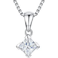 shop for Jools by Jenny Brown Rhodium Plated Silver Cubic Zirconia Small Drop Square Pendant at Shopo