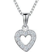Image of Jools by Jenny Brown Rhodium Plated Silver Cubic Zirconia Heart Pendant, Silver
