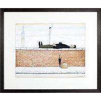 LS Lowry - Man Lying On A Wall Framed Print, 36 x 42.6cm
