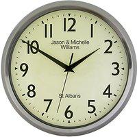 Lascelles Personalised Chrome Case Clock, 30cm, Silver