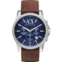 Armani Exchange AX2501 Mens Leather Strap Watch, Brown/Blue