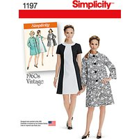 Simplicity 1960s Vintage Womens Dress and Coat Sewing Pattern, 1197