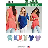 Simplicity Women's Tops Sewing Pattern, 1198