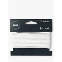 John Lewis & Partners Cord White, 3mm, White