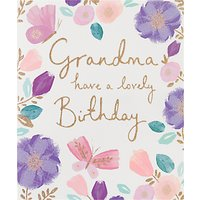 Woodmansterne Floral Pink Grandma Birthday Card