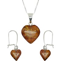 Goldmajor Sterling Silver Amber Heart Pendant and Earring Set, Silver/Amber