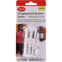 Clippasafe Cupboard & Drawer Locks, Pack of 6, White