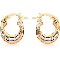 shop for IBB 9ct Gold Three Colour Hoop Earrings, Multi at Shopo