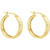 IBB 9ct Yellow Gold Diamond Cut Creole Earrings, Gold