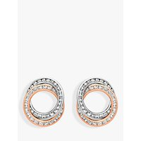 shop for IBB 9ct Two Colour Gold Cubic Zirconia Linked Ring Stud Earrings, White/Rose Gold at Shopo