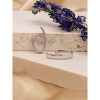 shop for IBB 9ct White Gold Polished Huggy Hoop Earrings, White Gold at Shopo